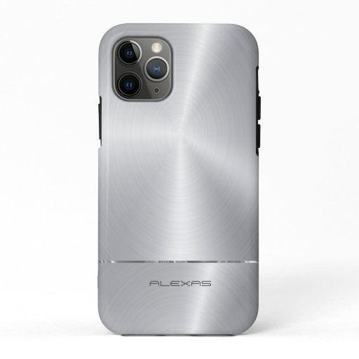 Shiny faux silver metallic look iPhone 11 pro case