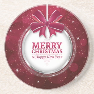 Shiny festive sparkling Christmas ball greating Beverage Coasters