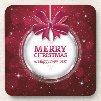 Shiny festive sparkling Christmas ball greating Drink Coasters