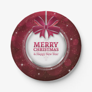 Shiny festive sparkling Christmas ball greating Paper Plate