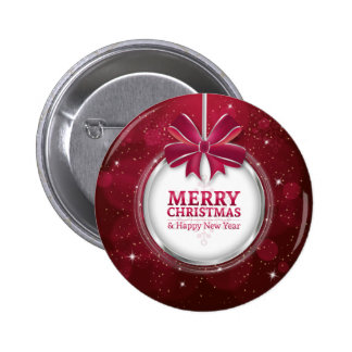 Shiny festive sparkling Christmas ball greating Pinback Button