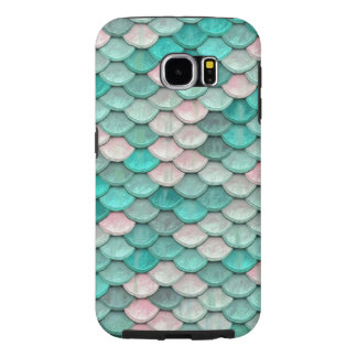 Shiny Fish Scales Effect Pattern Green Pink Samsung Galaxy S6 Case