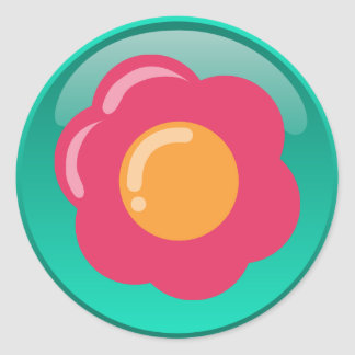 Shiny Flower Classic Round Sticker
