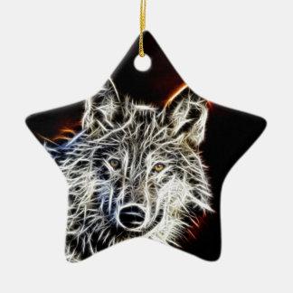 Shiny Fractilius Wolf Ceramic Ornament