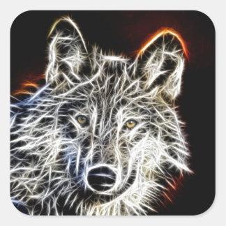 Shiny Fractilius Wolf Square Sticker