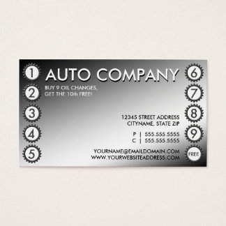 shiny gears punchcard business card