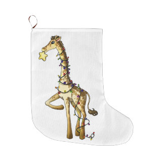 Shiny Giraffe Large Christmas Stocking