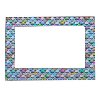 Shiny glossy pearlescent colorful mermaid scales magnetic picture frame