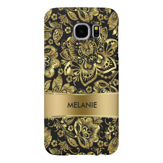 Shiny Gold And Black Baroque Damasks Pattern Samsung Galaxy S6 Case