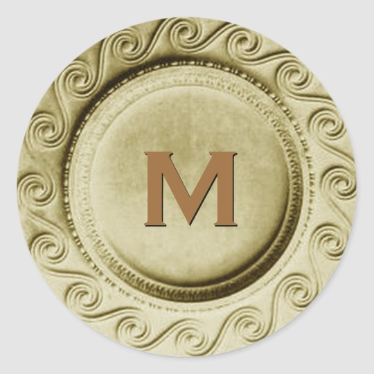 Shiny Gold Art Deco Wedding Monogram M Sticker