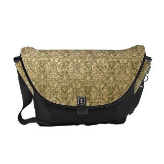 Shiny Gold Brocade on Black Fashion Messenger Bag