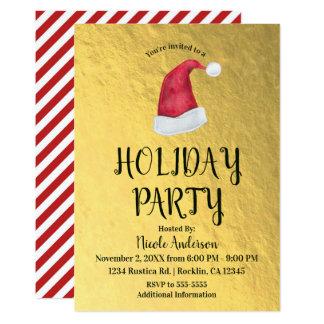 Shiny Gold Christmas Holiday Party Red Santa Hat Card