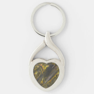 Shiny Gold Color Folds Texture Pattern Keychain