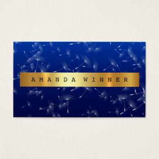 Shiny Gold Dandelion Confetti Blue Marine Vip Business Card