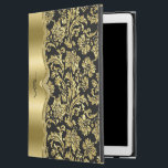"""Shiny Gold Floral Damasks Black Background iPad Pro 12.9&quot; Case<br><div class=""""desc"""">Elegant shiny metallic looking gold tones vintage floral damasks over customizable black background. Gold stripes on spine with customizable monogram. Shine and metallic look is a digital illusion and not real metallic shine.</div>"""