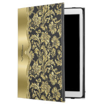 "Shiny Gold Floral Damasks Black Background iPad Pro 12.9"" Case"
