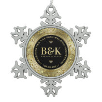 Shiny Gold Floral Frame 5oth Wedding Anniversary Snowflake Pewter Christmas Ornament