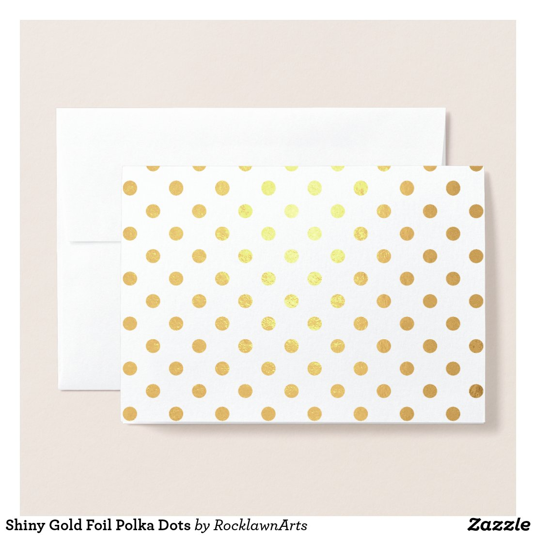 Shiny Gold Foil Polka Dots Foil Card