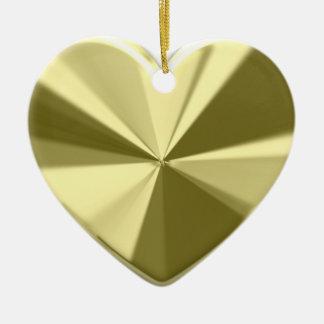 Shiny Gold Heart Double-Sided Heart Ceramic Christmas Ornament