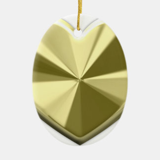 Shiny Gold Heart Double-Sided Oval Ceramic Christmas Ornament