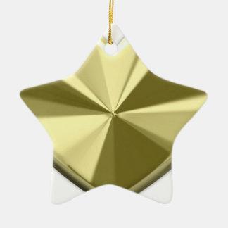Shiny Gold Heart Double-Sided Star Ceramic Christmas Ornament