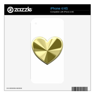 Shiny Gold Heart iPhone 4S Decal