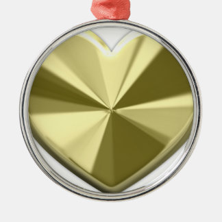 Shiny Gold Heart Round Metal Christmas Ornament