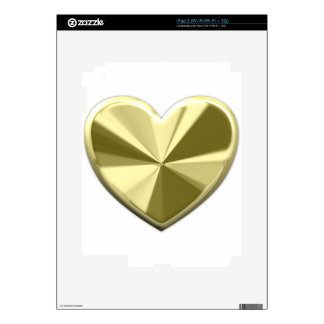 Shiny Gold Heart Decal For iPad 2