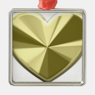 Shiny Gold Heart Square Metal Christmas Ornament