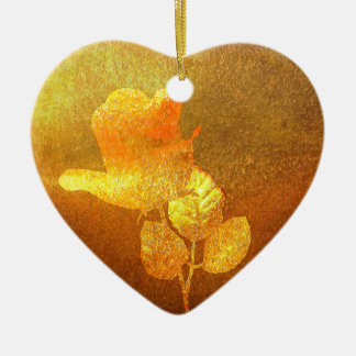 Shiny Gold Ink Paper Romantic Imprinted Rose Ceramic Ornament