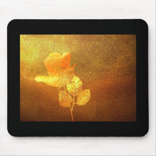 Shiny Gold Ink Paper Romantic Imprinted Rose Mousepads