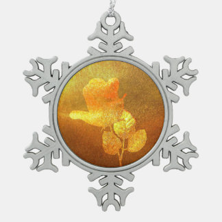 Shiny Gold Ink Paper Romantic Imprinted Rose Snowflake Pewter Christmas Ornament