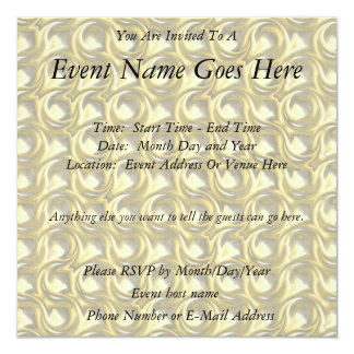 Shiny Gold Loops 5.25x5.25 Square Paper Invitation Card