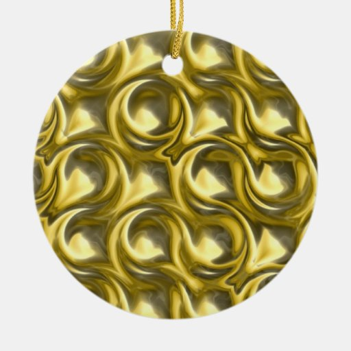 Shiny Gold Loops Double-Sided Ceramic Round Christmas Ornament