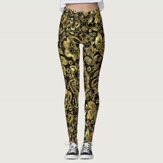 Shiny Gold On Black Floral Damasks Pattern Leggings