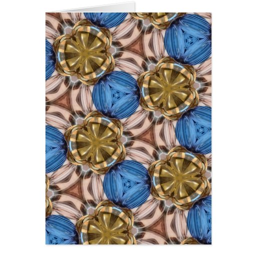 Shiny Gold Paperweight Glasses Marbles Blue Brown Greeting Card