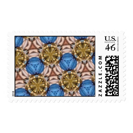 Shiny Gold Paperweight Glasses Marbles Blue Brown Postage Stamp