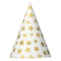 Shiny Gold Stars 2 Party Hat
