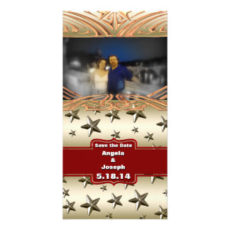 Shiny Gold Stars Background Photo Card Template