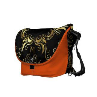 Shiny Gold Vintage Swirls On Black Courier Bag