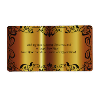 Shiny Gold Wedding Christmas Birthday Wine Label