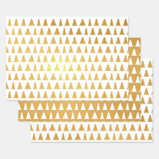 Shiny Gold White Geometric Tree Pattern Foil Wrapping Paper Sheets