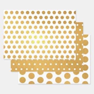 Shiny Gold White Polka Dot Pattern Foil Wrapping Paper Sheets