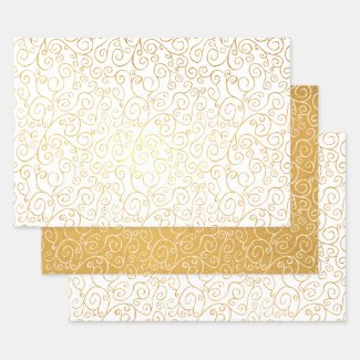 Shiny Gold White Scrolling Curves Abstract Pattern Foil Wrapping Paper Sheets