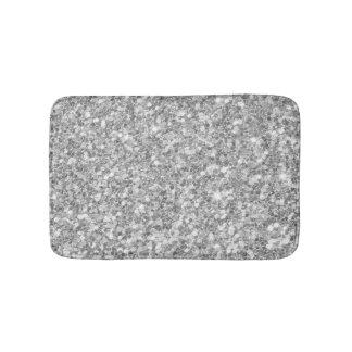 Shiny Gray And White Glitter Bathroom Mat
