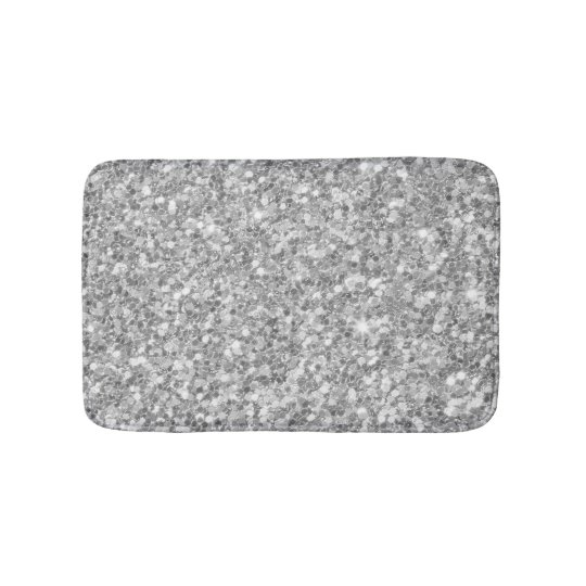 Shiny Gray And White Glitter Bathroom Mat Zazzle Com