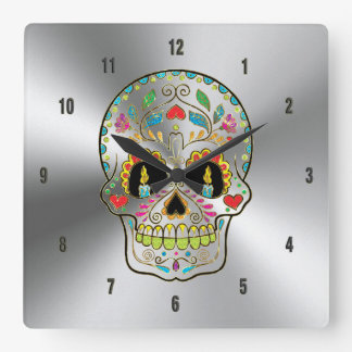 Shiny Gray Stainless Steel & Colorful Floral Skull Square Wall Clock