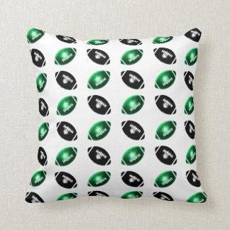 Shiny Green and Black Football Pattern Pillow