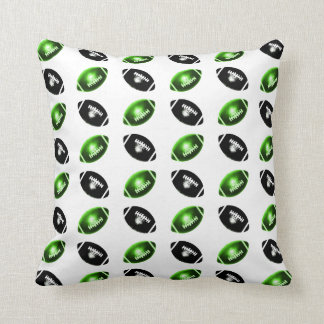 Shiny Green and Black Football Pattern Throw Pillow