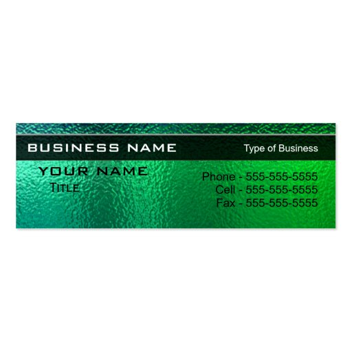 Shiny green and blue metal generic business card zazzle for Generic business cards